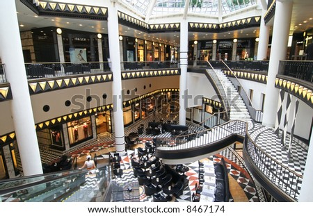 Friedrichstrasse shopping mall and cafetaria in Berlin
