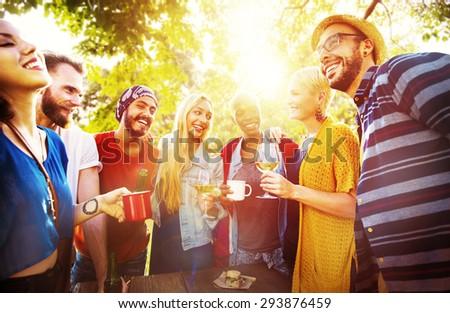 Friend Celebrate Party Picnic Joyful Lifestyle Drinking Concept #293876459