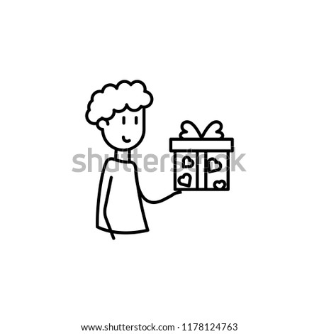 friend gives a gift icon. Element of friendship icon for mobile concept and web apps. Thin line friend gives a gift icon can be used for web and mobile on white background