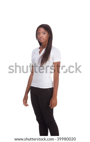 Friendly African American female with long hair