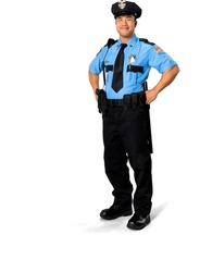 Friendly Asian man with short black hair in uniform with hands on hips - Isolated