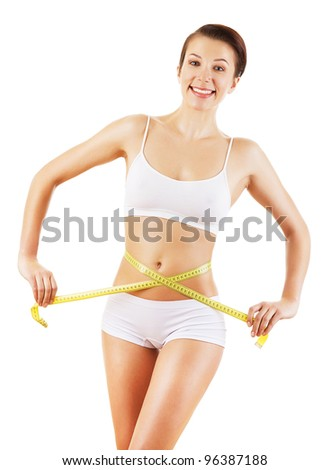 friendly cute woman in white with yellow measure on white background