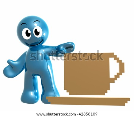 Friendly 3d icon with coffee cup break symbol - stock photo