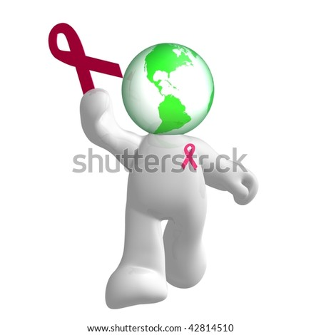 Friendly 3d icon with red ribbon symbol