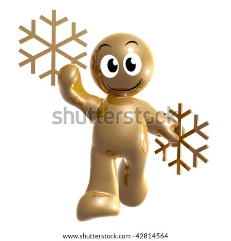 Friendly 3d icon with winter snow flakes symbol
