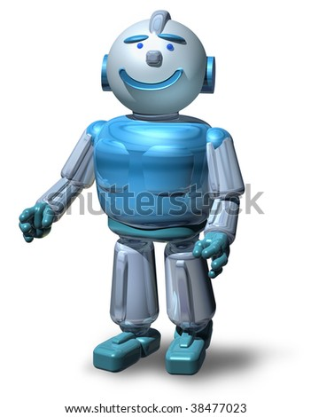Friendly 3D robot character ready to serve you, isolated on white, with drop shadow