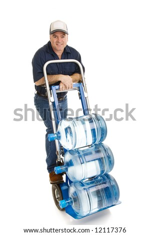 stock photo : Friendly delivery man bringing 5 gallon water jugs on a hand ...