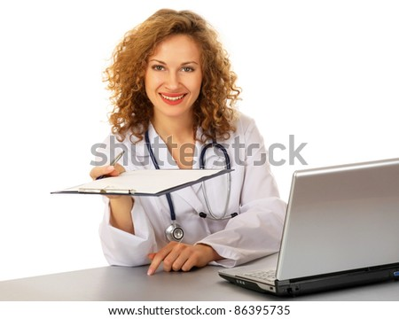 Friendly doctor showing you some documents (isolated on white)