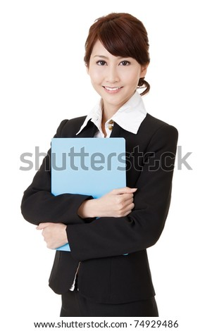 Friendly executive woman of Asian smiling and holding file document paper, half length closeup portrait on white background.
