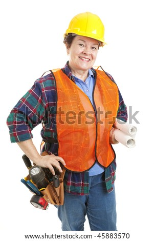 Friendly female construction contractor with her tools and blueprints.  Isolated on white.