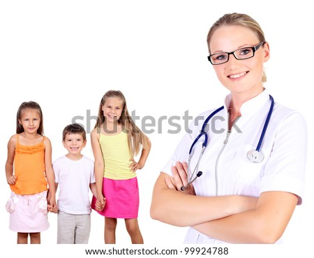 Friendly female doctor and family with children on the background