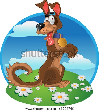 Friendly fun dog on bright color background  raster
