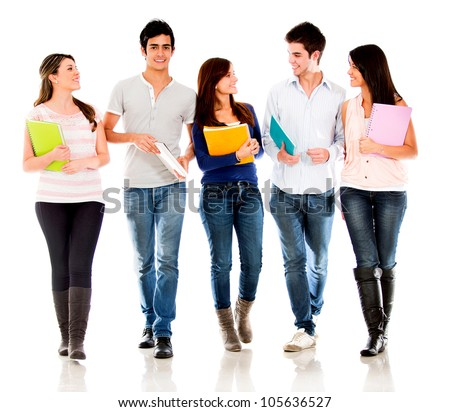 Friendly group of students talking  - isolated over a white background