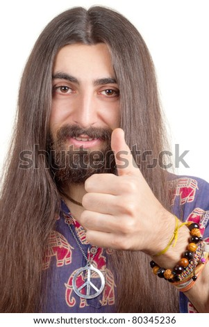Friendly hippie with long hair making agree sign