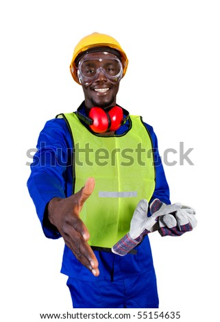 friendly male african construction worker