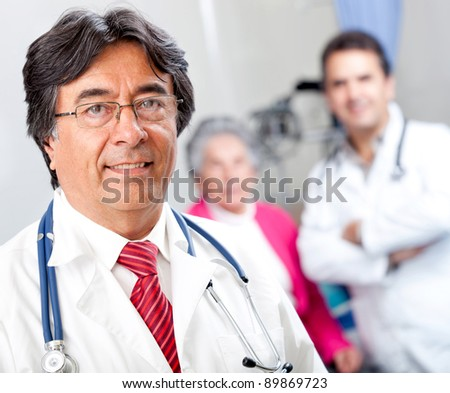 Friendly male doctor at a geriatric hospital