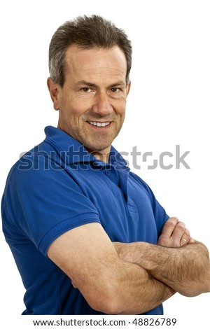 friendly man with arms crossed, (with Clipping Path)