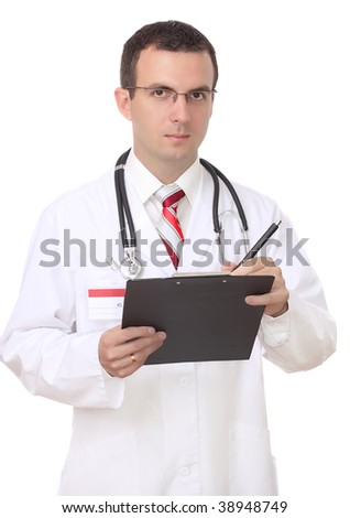 Friendly medical doctor write on paper pad. Isolated
