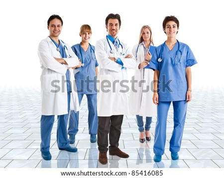 Friendly medical team in a bright room