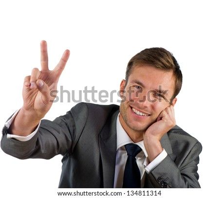 friendly nice businessman to a victory isolated on a white background
