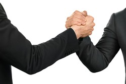 Friendly officials shake hands. An alliance is born. Partnership and protection. The strenth of a gesture.