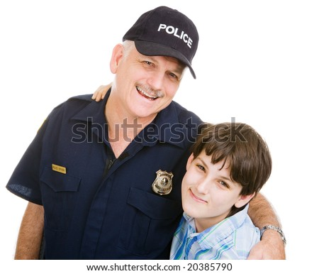 Friendly police officer and an adolescent boy.  Isolated on white.