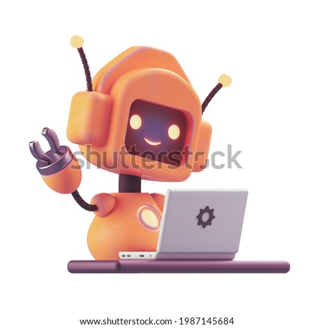 Friendly positive cute cartoon orange robot with smiling face waving its hand. Chatbot greets. Customer support service chat bot, assistant, online consultant. 3d render isolated on white backdrop