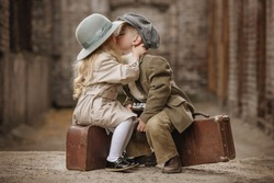 Friendly romantic encounter boys and girls autumn day in the old town