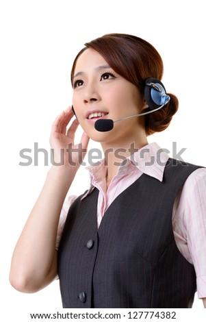 Friendly secretary or telephone operator on white background.