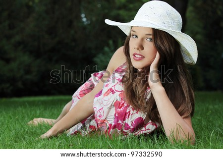 Friendly teen girl at park