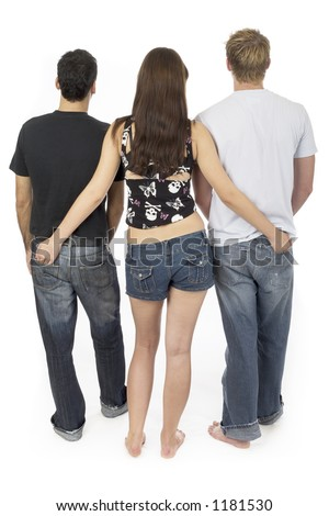 Friendly threesome two, two men and a woman - stock photo