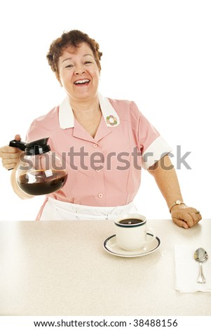 Friendly waitress laughs and chats as she serves coffee.  Isolated on white.