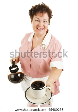 Friendly waitress serving a hot cup of coffee for you.  Isolated on white.