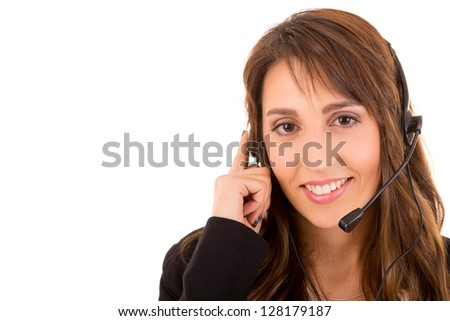 Friendly young beautiful telephone operator at work