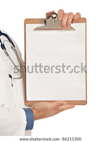 Friendly Young Doctor Holding and Pointing to Notepad on Isolated White Background