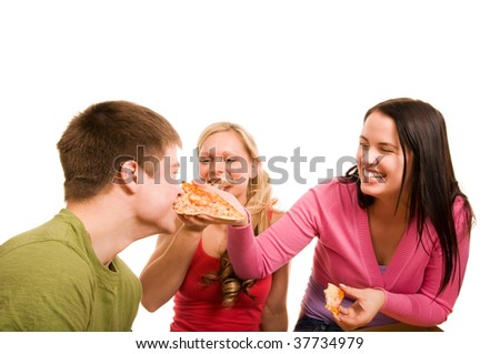 Friends are having fun and eating pizza