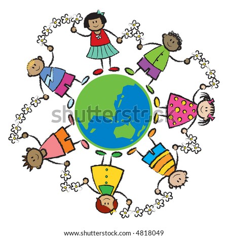 Cartoon illustration of multi racial kids linked with flowers