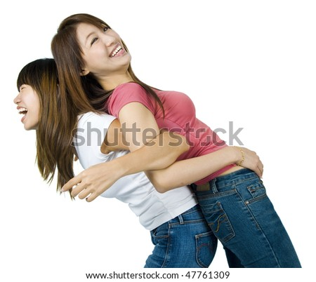 Friends. Asian female having fun together.