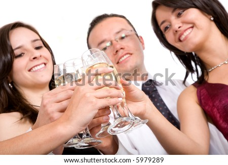 friends at a party over a white background - focus is on glasses