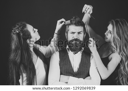 Friends at hairdresser salon, lgbt. People make haircut, love relations, friendship. Women with comb, scissors cut hair. Bearded man, sexy women with long hair. Barbershop, fashion, beauty, hipster. #1292069839
