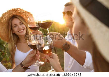 Friends clinking glasses of red wine at vineyard on sunny day, closeup ストックフォト ©