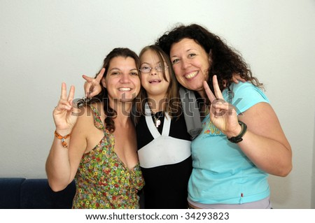 Friends doing peace sign
