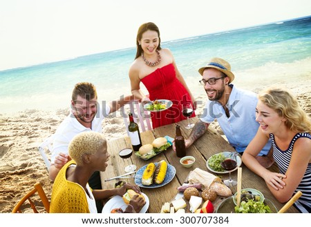 Friends Friendship Outdoor Dining People Concept