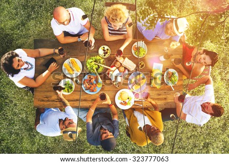 Friends Friendship Outdoor Dining People Concept #323777063
