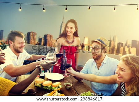 Friends Friendship Rooftop Dining People Concept