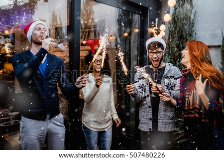 Friends gathered to celebrate New Year\'s Eve