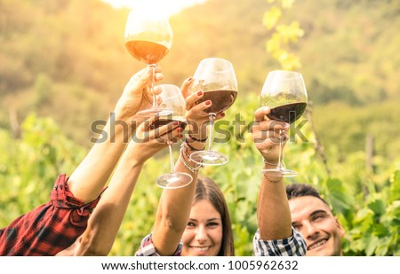 Friends hands toasting red wine glass and having fun cheering at winetasting experience - Young people enjoying harvest time together at farmhouse vineyard countryside - Youth and friendship concept