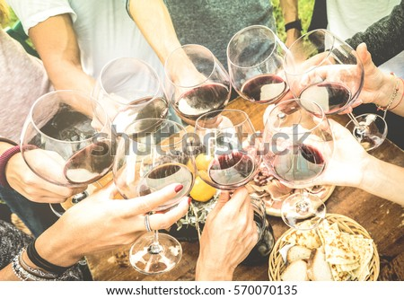 Friends hands toasting red wine glass and having fun outdoors cheering with winetasting - Young people enjoying harvest time together at farmhouse vineyard countryside - Youth and friendship concept #570070135
