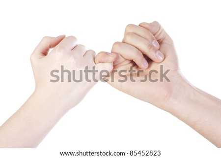 Friends handshake over isolated background