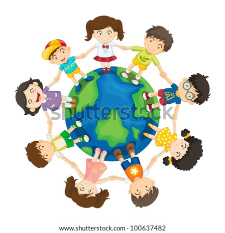 Friends hanging out around the world - EPS VECTOR format also available in my portfolio.